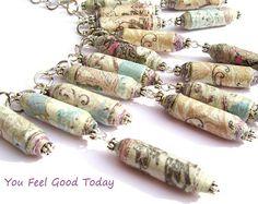 Bohemiene style necklace made with recycled paper - paper jewerly- paper necklace  Guarda gli oggetti unici di YouFeelGoodToday su Etsy, un mercato globale del fatto a mano, del vintage e degli articoli creativi.