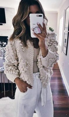 #fall #outfits women's grey knitted jacket