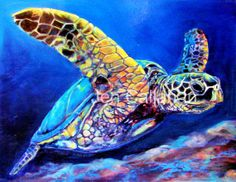 Coastal Sea Turtle Yard Art Outdoor Print 18x24 by jenartwork, $190.00