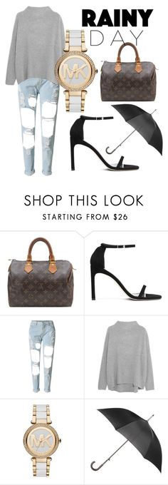 """""""Rainy Day"""" by jordanbrookerichardson ❤ liked on Polyvore featuring Louis Vuitton, WithChic, Vince, Michael Kors and Totes"""