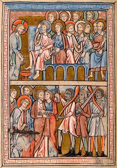 Christ: Washing of Feet   Christ: Betrayal and Arrest   Psalter   England, Oxford   between 1212 and 1220   The Morgan Library & Museum