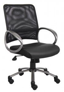 Mesh Task Chair. Upholstered in White CaressoftPlus™ and Breathable Mesh. Loop arms. Adjustable tilt-tension control. Pneumatic gas lift seat height adjustment. Metal base. Hooded double wheel casters. Availability: 2 Color(s) Available. Pricing: $139.99. Visit our product page at: http://sd-office.com/i-7190220-boss-mesh-back-task-chair.html