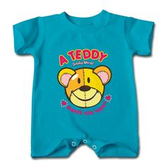 A Teddy Bear Turquoise Cute T-romper For Baby Personalized-Funny Clothing and More than 80 thousands of design ideas online,Find t-shirt and easily custom your own t-shirts .No Minimums, and Free Shipping.