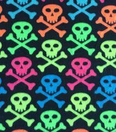Anti-Pill Fleece Fabric-Neon Skull Crossbones
