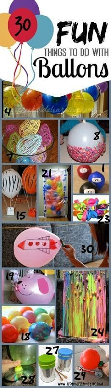 30 FUN things to do with balloons! I love all these balloon activities!! So many clever kid activities perfect for spring or summer fun for kids from preschool, kindergarten, 1st grade, 2nd grade, 3rd grade, 4th grade, 5th grade