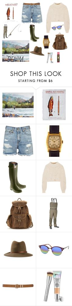 """Fly Fishing Denim (contest)"" by scolab ❤ liked on Polyvore featuring But Another Innocent Tale, Patagonia, R13, Hunter, Isabel Marant, rag & bone, Ray-Ban, M&Co and Sun Bum"