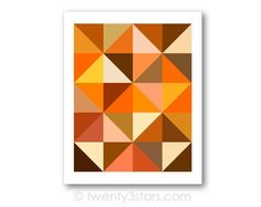 Orange Triangles Geometric Art | Pumpkin & Sunflower. All other shades including greys and blacks available as well at twenty3stars.com