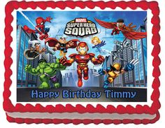 cakes with Marvel Superhero Squad | Marvel Super Hero Squad Edible Cake Topper by ItsEdible on Etsy