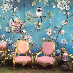 (C) Mint & Mogra | Indian wedding decor inspiration | Floral Printed backdrop ideas | Blue and pink | Pink chairs | Trending now | Lockdown weddings | Intimate weddings at home | #indianwedding #intimatewedding #backdrop #ideas #pinkandblue #intimatewedding #miniwedding #decorideas #bridetobe #wedding2020 #staysafe #lockdown #bae #indianweddingblog Wedding Stage Decorations, Engagement Decorations, Photo Booth Backdrop, Backdrop Decor, Backdrop Ideas, Indian Wedding Stage, Baby Shower Backdrop, Wedding Chairs, Home Wedding