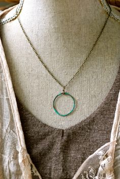 Full Circle. verdigris circle necklace. by tiedupmemories on Etsy