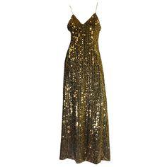 1970s Biba Gold Sequin Maxi Dress