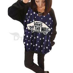 Women Sweatshirt Top Long Sleeve Star Skateboard Casual Fashion US S   eBay