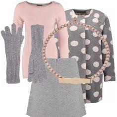 Questo look è formato da un simpaticissimo cappotto a pois, una minigonna grigia abbinata ad un pullover rosa e una collana di perle. Non dimenticate i guanti, fuori fa freddo!