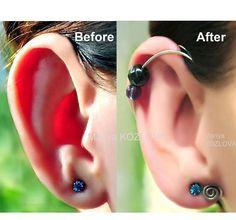 Ear Cuff For Protruding Ears No Piercing Ear Jacket/piercing imitation/fake faux piercing/helix ear manschette/ohrklemme/ear sweep climber - Women's fashion - Piercings Ear Piercings Helix, Cartilage Earrings, Helix Earrings, Lip Piercing, Ears That Stick Out, Fake Plugs, Ear Parts, Ear Jacket, Piercing