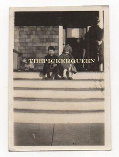 Antique Vintage Photograph~2 Kids~Male Female~Children~Pourch~Steps~Dog~Girl Boy
