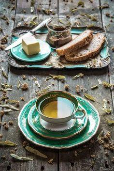 Tea.Whole grain bread, butter & jam