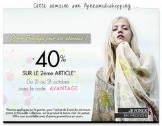 -40% sur le 2ème Article avec le code AVANTAGE http://www.apresmidishopping.com/nvelle_collection.php