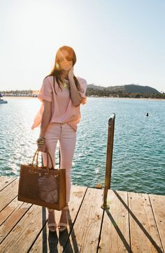 my favorite way to wear the colored denim trend - monochromatic! and the large tory burch tote doesn't hurt