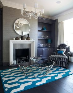 Cable Blue By The Rug Company Living Room Manchester Uk Painted Floorboards