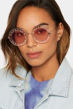 GUCCI adorable Round-frame printed acetate and gold-tone sunglasses