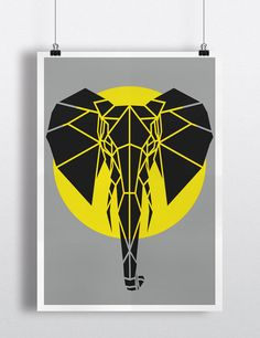 Yellow Geometric Safari Animal Prints Set of 3 on by Stencilize