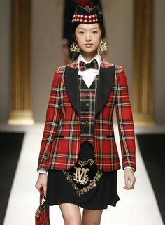 Moschino interesting scottish lookalike style design suits and crafty design. Interesting