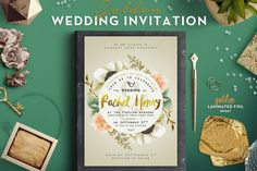 Golden Foil Wedding Invitation II by The Wedding Shop on @creativemarket