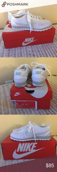 Nike Cortez ultra white with mesh size 6 Worn twice. Some scuffing on the back. White with mesh, size 6 Nike Shoes Sneakers