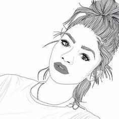 outline, art, and drawing image Tumblr Girl Drawing, Art Tumblr, Girl Drawing Sketches, Cute Girl Drawing, Girl Sketch, Tumblr Girls, Girl Drawings, Tumblr Outline, Outline Art