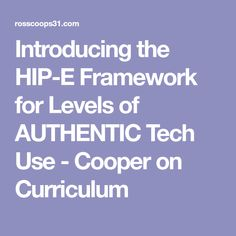 Introducing the HIP-E Framework for Levels of AUTHENTIC Tech Use - Cooper on Curriculum Technology Integration, Educational Technology, Curriculum, Thoughts, Resume, Teaching Plan, Instructional Technology, Ideas