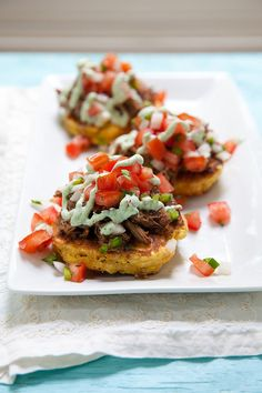 Corn Cakes with Beef Barbacoa and Cilantro Lime Cream Sauce  –  Annie's Eats