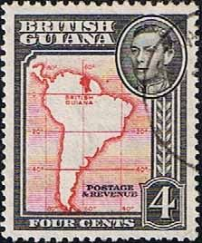 British Guiana 1938 King George VI SG 310 Map of South America Fine Used Other West Indies and British Commonwealth Stamps HERE!