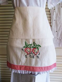Apron Vintage Dish Towel Feed Sack Dishcloth Embroidered Strawberries Eco Friendly Upcycled Recycled
