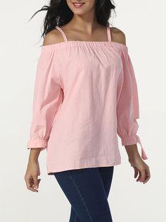 Open Shoulder Bowknot Plain Blouse Only $20.95 USD More info...