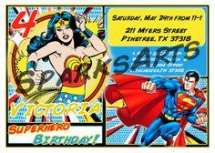 Superhero Birthday Invitations  WONDER WOMAN & Superman by SparksArts,