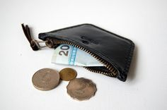 Small Black Leather Coin Pouch.