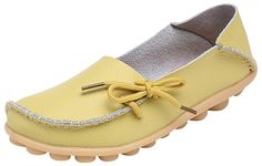Serene Womens Leather Cowhide Casual Lace Up Flat Driving Shoes Boat Slip-On Loafers (8B(M)US, Light Yellow)