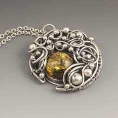 """""""Harvest Moon"""" Baltic Amber, Sterling and Fine Silver Wire Wrapped Necklace by Sabrinah Renee, boutique jeweler"""