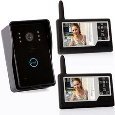 """2.4G 3.5"""" TFT Wireless Video Door Phone Intercom Doorbell Home Security 1-camera 2 Monitors by tomtop. $236.98. Rechargeable lithium battery through USB cable. Wireless unlock control supports power on and power off unlock mode. Monitor can hang on the wall, cabinet, or be place on the desk, table, etc. Time shows on the screen. Time, brightness and talk volume are adjustable. Sensitive touch key. Wide applications such as villas, apartments, office, hotels, pu..."""