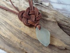 Scottish SeaGlass and  Leather Celtic Knot Necklace - By Nature's Design
