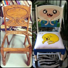 Artist Restores and Repaints an Antique Chair With Characters From the Television Series 'Adventure Time'