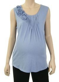 Lilo Maternity Sleeveless Tucked Top with Flowers Periwinkle (L) Lilo Maternity. $46.00