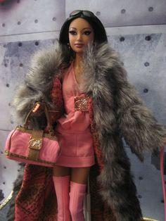 Kimora Lee Simmons 2008 Barbie Doll Pink Boots Fur Coat Little Dog Zoe 027084499391 | eBay
