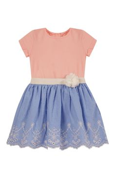Primark - Coral And Blue Embroidery Dress