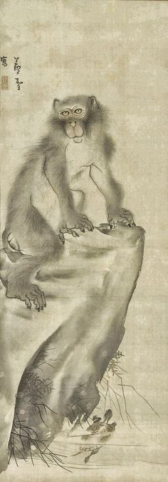 Monkey and Turtle. Maker(s) Artist: Nagasawa Rosetsu Historical period(s) ca. Medium Ink and color on silk. Sumi E Painting, Japan Painting, Chinese Painting, Types Of Monkeys, Art Chinois, Year Of The Monkey, Asian Design, Japan Art, Japanese Artists