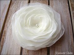 Wedding Hair Flower- Antique Ivory Chiffon Rose Hair Flower, Bridal Accessory, Made To Order $20