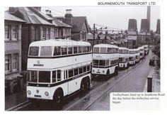 Bournemouth UK:Trolley buses lined up, in Southcote Road, the day before Trolley bus services began. Bournemouth England, Automobile, Nostalgia, Bus Coach, London Bus, Busses, Local History, Old English, Public Transport