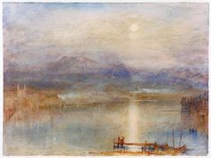 """Turner, William 1775–1851.  """"Moonlight on Lake Lucerne with the Rigi in the Distance"""",  c. 1841/44. Watercolour, 23 × 30.7 cm."""