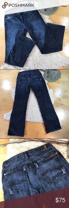 7 For All Mankind Men's Jeans! 31 waist 7 For All Mankind Jeans! •VGUC •Bootcut style •Distressed detailing around pockets 7 For All Mankind Jeans Bootcut