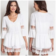 The Elizabeth Top Adorable bell sleeve button up top. 65% Cotton 35% Polyester Small (2-4) Medium (6-8) Large (10-12) Tops